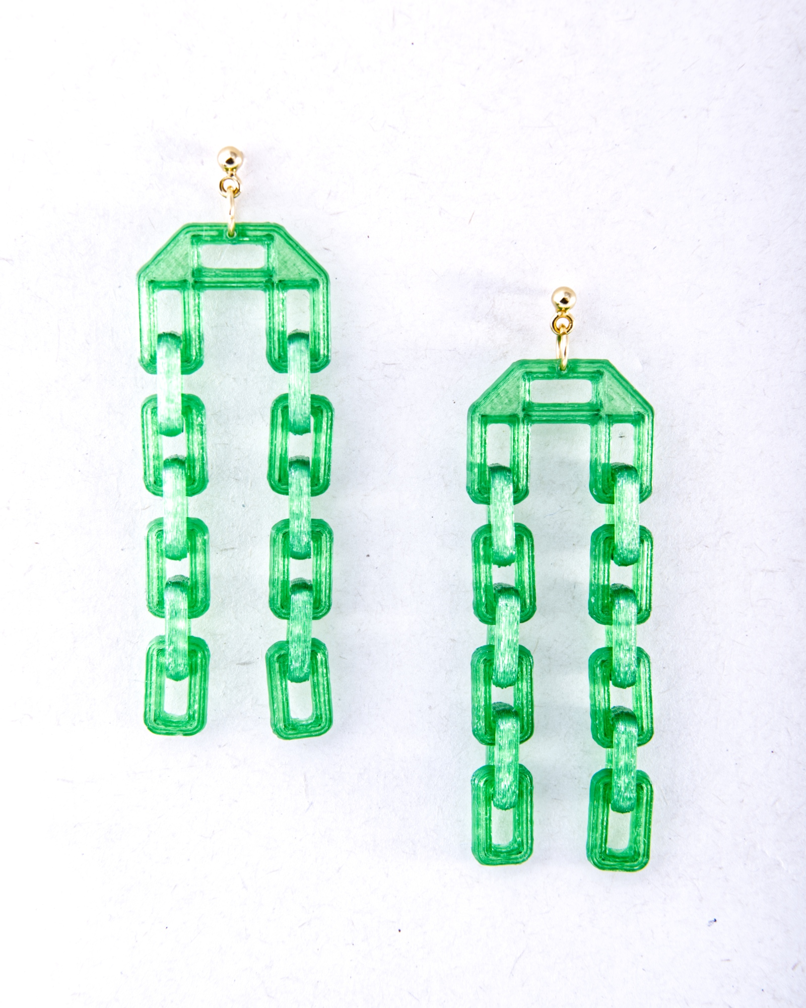 DOUBLE CHAIN EARRINGS-GREEN